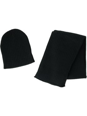 CTM Boy's 4-7 Solid Ribbed Slouchy Beanie Hat with Scarf Set