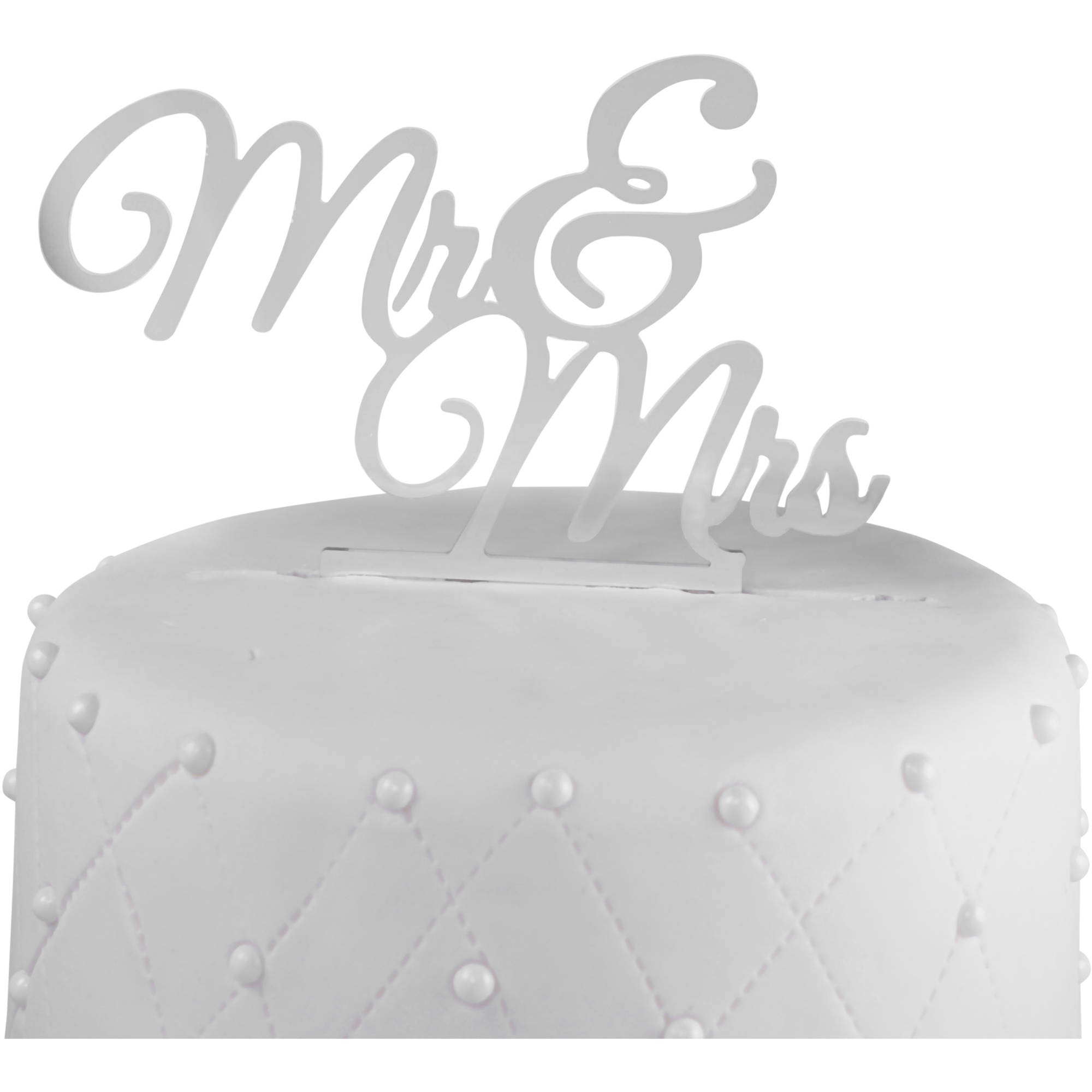 """Unik Occasions """"Mr. and Mrs."""" Acrylic Wedding Cake Topper New, Silver Mirror"""