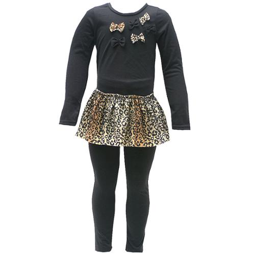 Ziggles Wiggles Little Girls Black Tan Leopard Print Bow Legging Outfit 2T