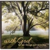 Plaque-Glitter-With God  All Things Are Possible (11.75 x 11.75)