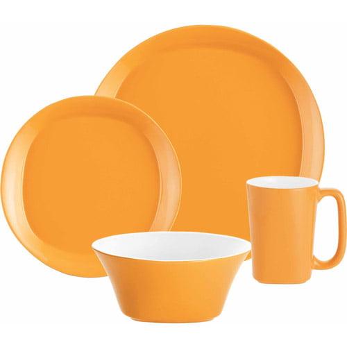 Rachael Ray Dinnerware Round and Square 4-Piece Stoneware Dinnerware Set, Orange