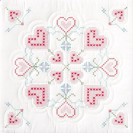 "Jack Dempsey Interlocking Hearts Stamped White Quilt Blocks, 18"" x 18"""