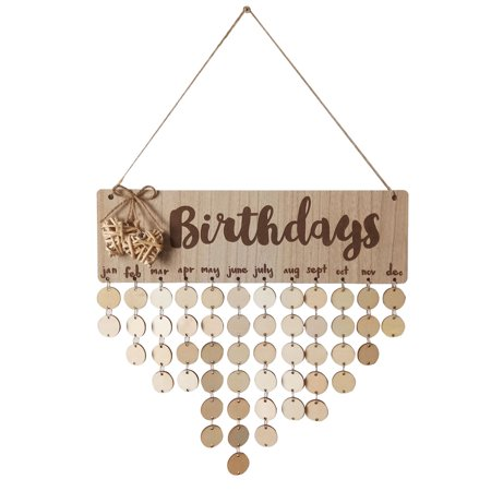 Wooden Calendar Birthdays Round Printed Lowercase Wall Calendar Sign Special Dates Reminder Board Home Hanging Decor Gift Style:As shown - image 1 de 7