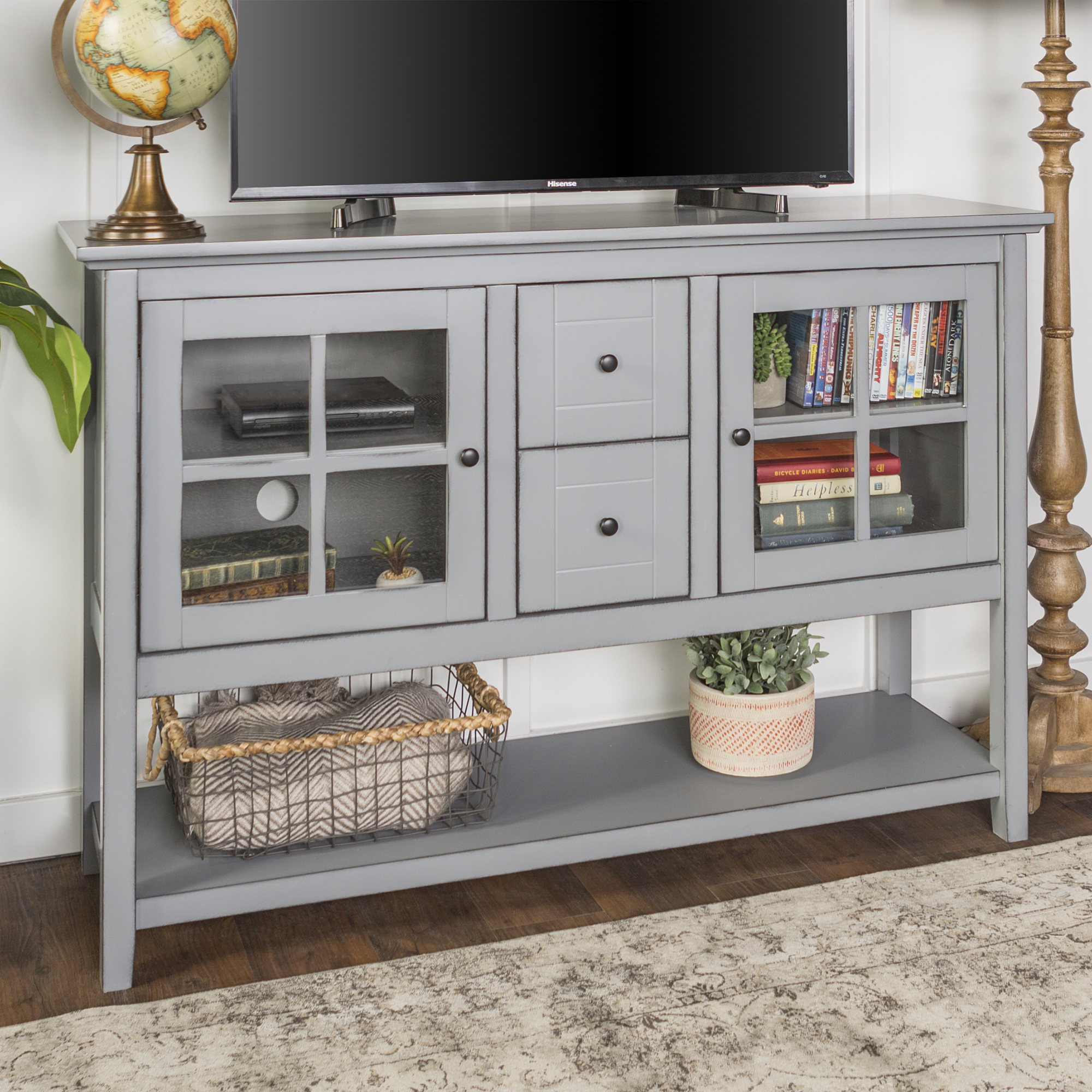 "52"" Transitional Wood Glass Console Table Highboy Buffet TV Stand - Antique Grey"