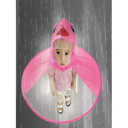 Outtop Cute Rain Coat UFO Children Umbrella Hat Magical Hands Free Raincoat