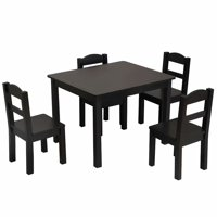 Akoyovwerve Wooden Kids Table and Chairs Set 2-8, Espresso