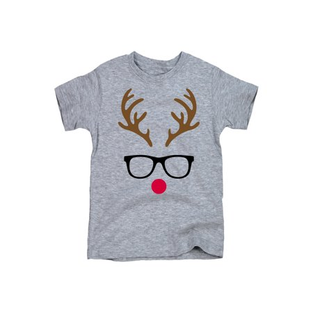 b3bb714b Instant Message - Reindeer Face With Glasses - Toddler Short Sleeve Tee -  Walmart.com