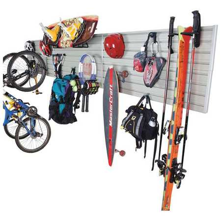 FLOW WALL Sports Storage System,Silver, 15 Hooks1 FWS-4812-6SB12