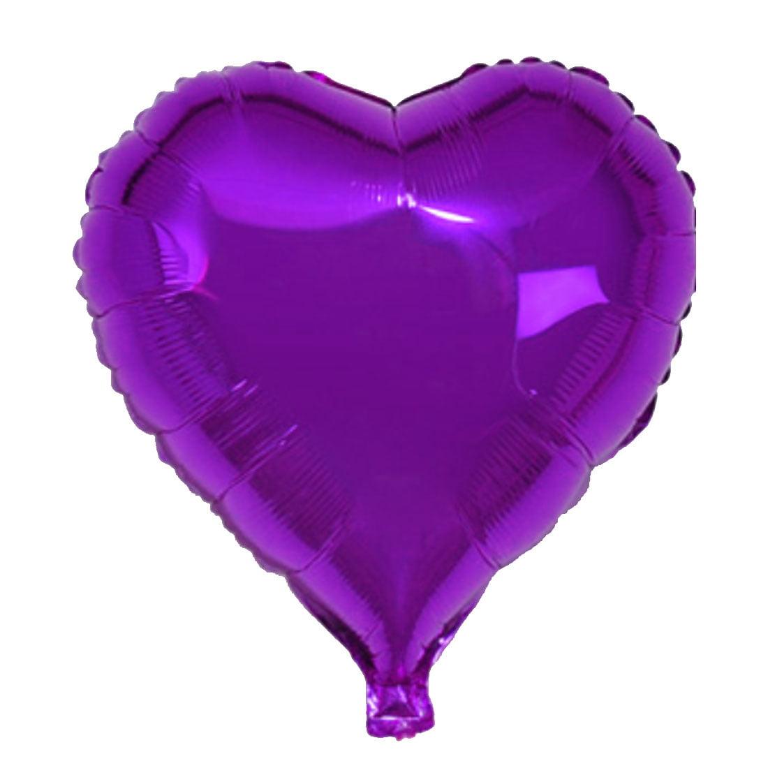 "Unique Bargains Foil Heart Shape Balloon Wedding Birthday Celebration Decor Purple 10"""
