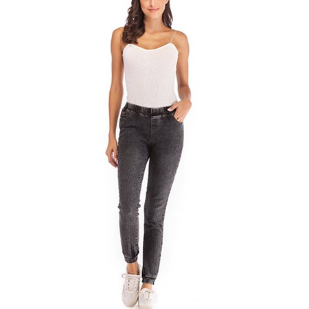 Women Ladies Plus Size High Elastic Waisted Slim Casual Stretchy Skinny Jeans Basic Denim Jeggings Legging Pants