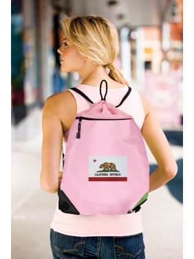 5e6936a3c0c0 Product Image Cute California Cinch Pack Backpack for Girls Women Two  Section Mesh   Microfiber California Flag Drawstring