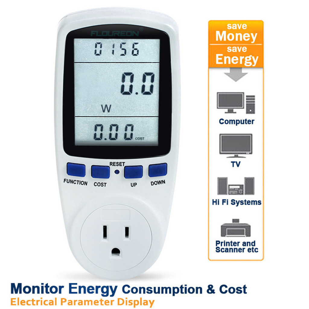 Floureon Energy Power Meter Monitor LCD display Watt Volts Time Current 60HZ 110V-130V US Plug