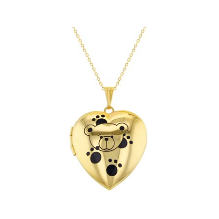 Heart Photo Teddy Bear Paws Kids Locket Pendant Necklace 16