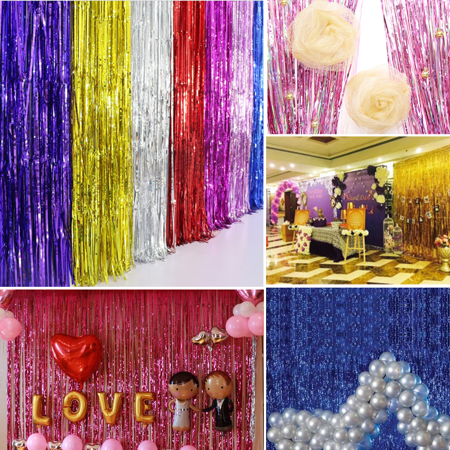 - 2/3M Shiny Tinsel Foil Fringe Window Curtain Wedding Party Backdrop Decorate