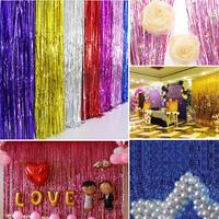 2/3M Shiny Tinsel Foil Fringe Window Curtain Wedding Party Backdrop Decorate