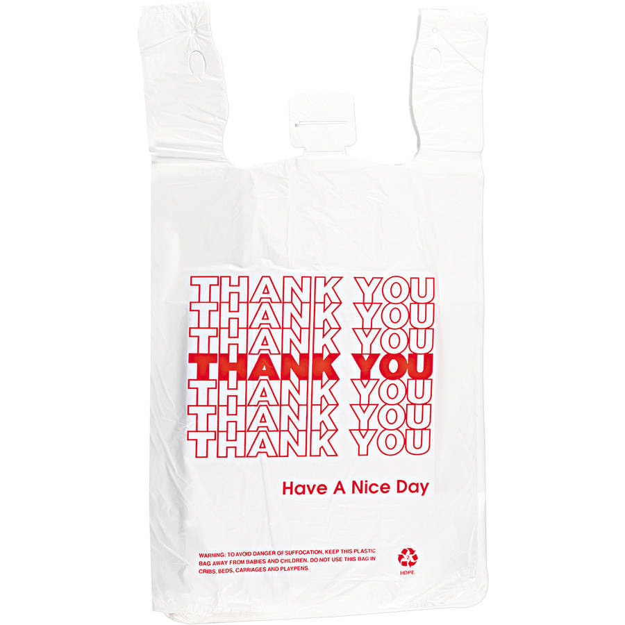 "Inteplast Group ""Thank You"" T-Shirt Bags, White, 500 count"