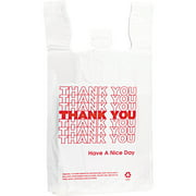 "Inteplast Group ""Thank You"" Shopper Bags, White, 500 Ct"