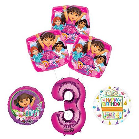 Dora The Explorer Birthday Decorations (Dora the Explorer 3rd Birthday Party Supplies and Balloon Bouquet)