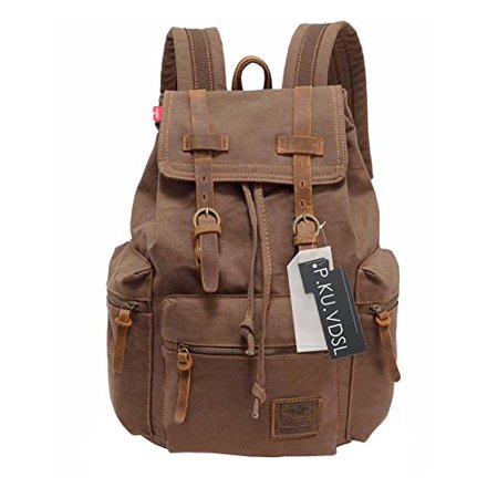 Canvas Backpack, AUGUR Series Vintage Leather Rucksack, 17 Laptop Backpack, Military Satchel Backpack for Men Women Traveling Hiking (Leather Backpack For Men)
