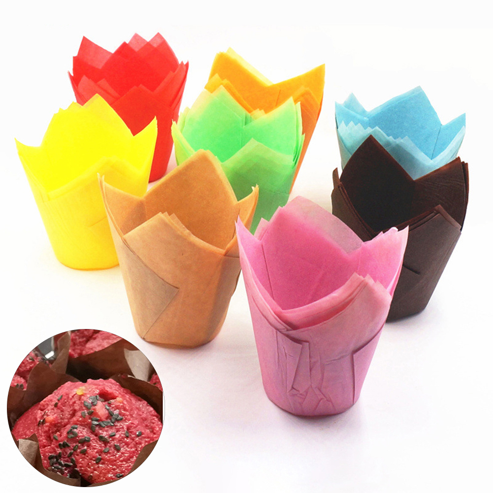 Heepo 50Pcs High Temperature Resistant Cake Paper Cup Tulip Muffin Baking Case Liners