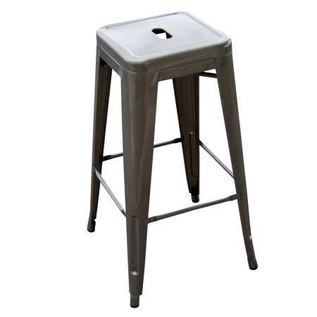 AmeriHome Loft 30u0022 Metal Bar Stool, Gun Metal