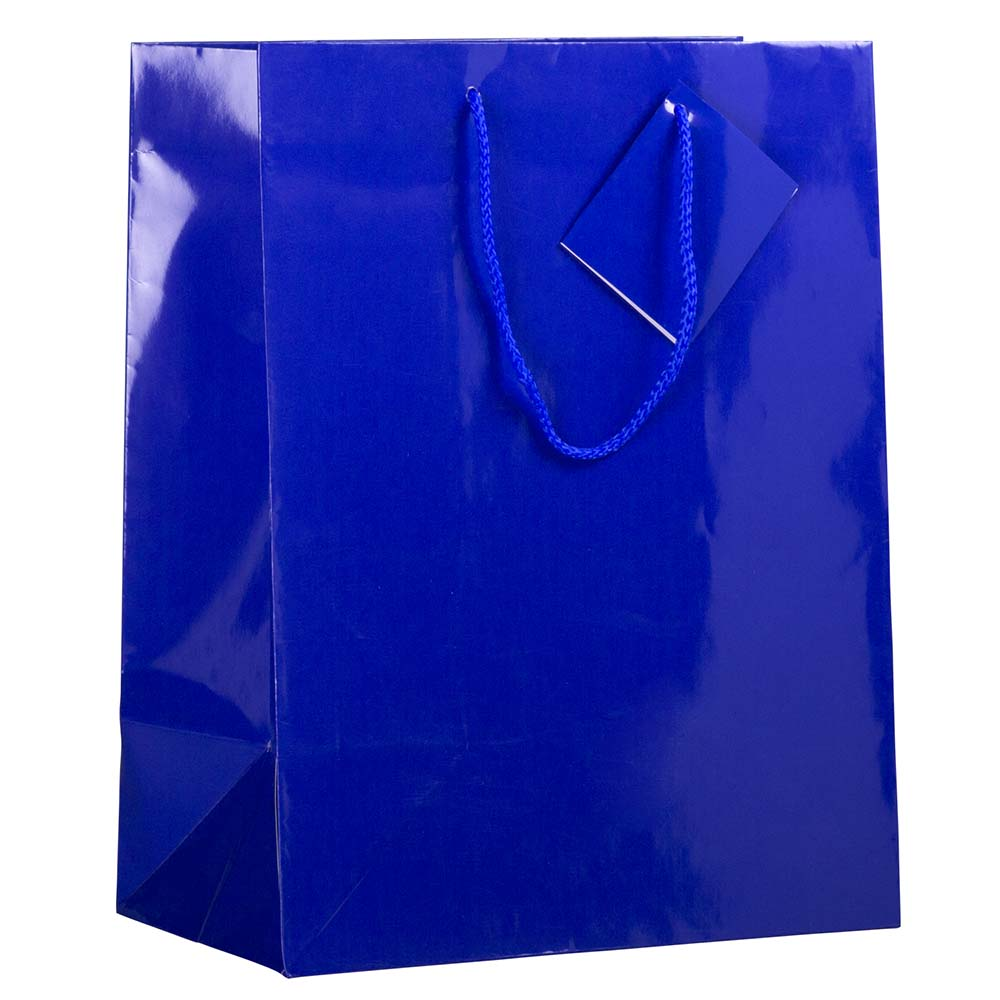 "JAM Paper Glossy Gift Bags with Rope Handles, Large, 10"" x 5"" x 13, Blue, 100/pack"