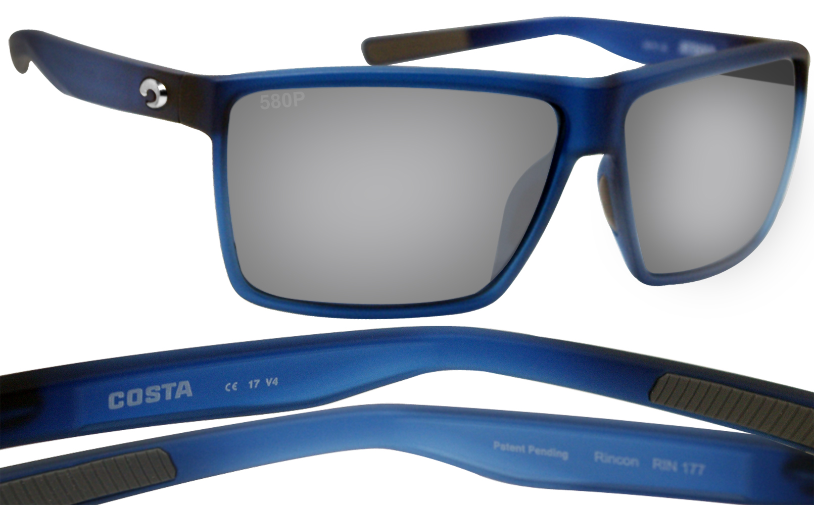 0bb620bca7 Costa Del Mar Rincon Atlantic Blue Gray Silver Mirror 580P Plastic  Polarized