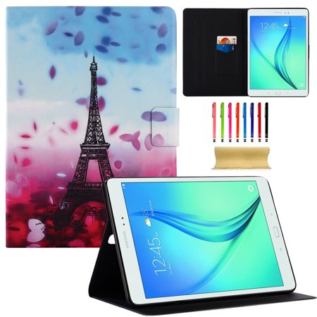 Galaxy Tab A 9.7 2015 Case, Allytech Slim Fit PU Leather Flip Folio Stand Wallet Smart Case Covers Support Auto Wake/Sleep for Samsung Galaxy Tab A 9.7 SM-T550/P550, Eiffel Tower
