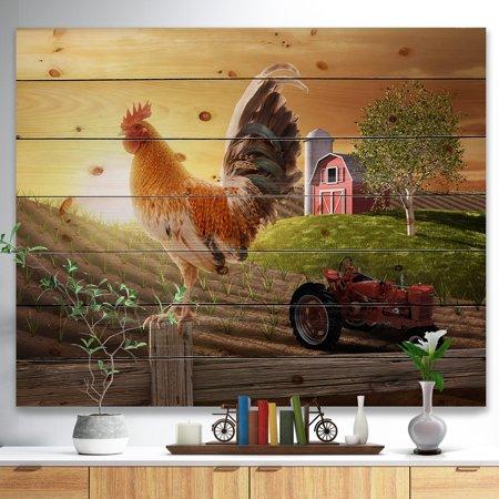 DESIGN ART Designart 'Country Farm Morning' Farmhouse Animal Painting Print on Natural Pine Wood - Brown