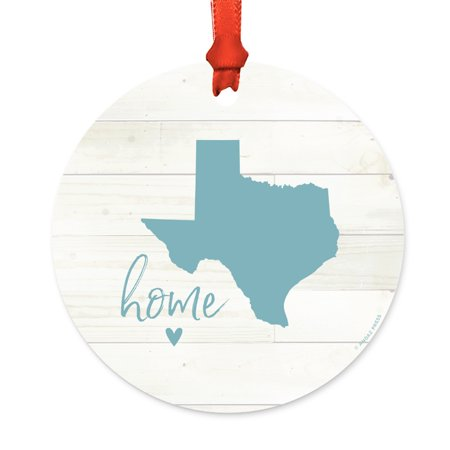 US State Round Metal Christmas Ornament, Rustic Light Wood Print, Texas Home, Includes Ribbon and Gift Bag