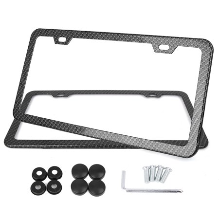 2 Pcs Carbon Fiber Front Rear License Number Plate Frame w/ Screw Caps - 2 Hole