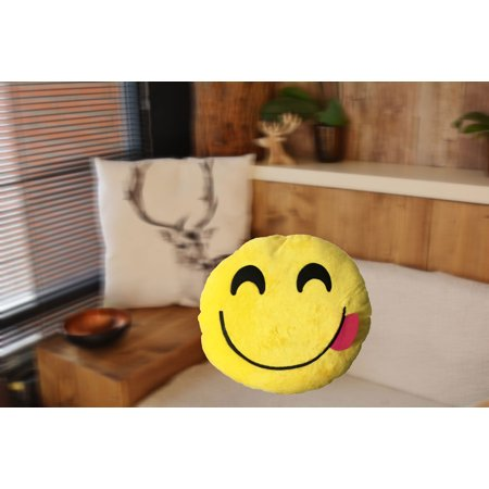 Emoji With Tongue Out (Creative Motion Yellow Smily Face with Red Tongue Stick Out Emoji Cushion)