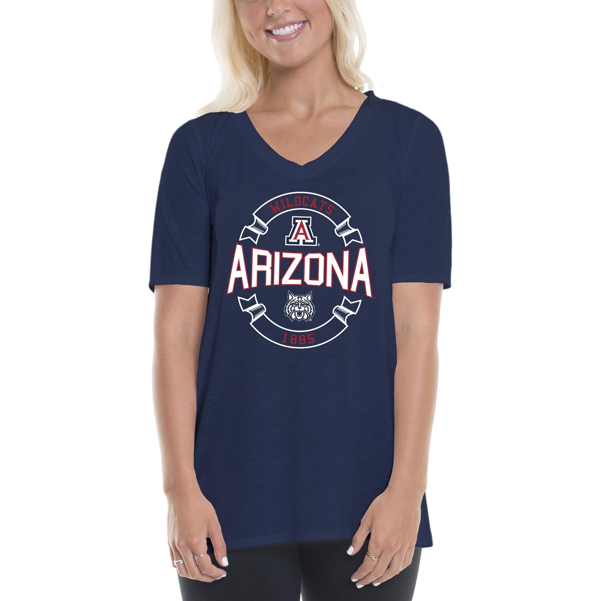 Women's Navy/Red Arizona Wildcats Double Ribbon Arch V-Neck T-Shirt
