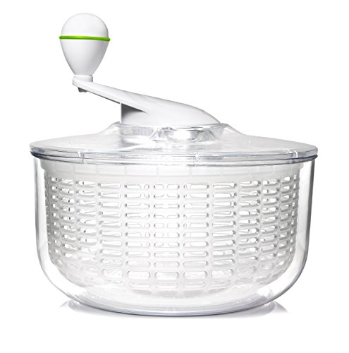 Art+Cook Small Salad Spinner, 3.5 quart, Clear/White