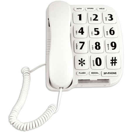 Easy Clean Telephone (Easy Read Large Button Telephone For Desk Or Wall w/ Hands Free Speakerphone, Phone Calls Made Easy Again! By Sonnet Industries )