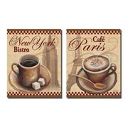 Retro New York Bistro And Cafe Paris Cups Of Coffee Kitchen Decor Two 11x14