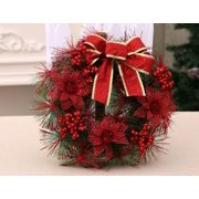 """Happyline"" 12"" Christmas Wreath with Ribbon and Bells, Outdoor Indoor Christmas Wreaths Garland Ornaments Christmas Decorations Red"