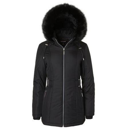Sportoli Women's Midlength Down Alternative Puffer Coat Fur Trim Plush Lined Detachable Hood - Black - Detachable Fur Trim Hood Jacket