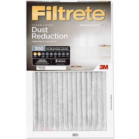 Filtrete Clean Living Dust Reduction HVAC Furnace Air Filter, 300 MPR, 12 x 24 x 1 inch, 1 Filter
