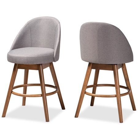 Baxton Carra Gray Upholstered Wood Swivel Counter Stool In