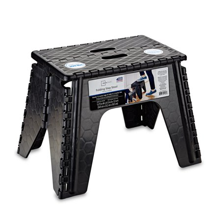 "B&R Plastics 103-6BK E-Z Foldz Folding Step Stool - 12"", Black"
