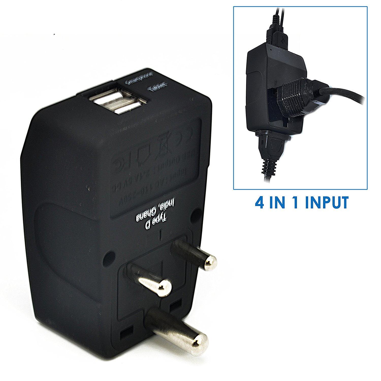 Ceptics Type D 2 USB India Travel Adapter 4 in 1 Power Plug Universal Socket