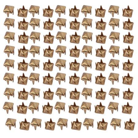 Unique Bargains 200pcs 4mm Square Shaped Paper Brad Gold Tone for Scrapbooking Embellishment