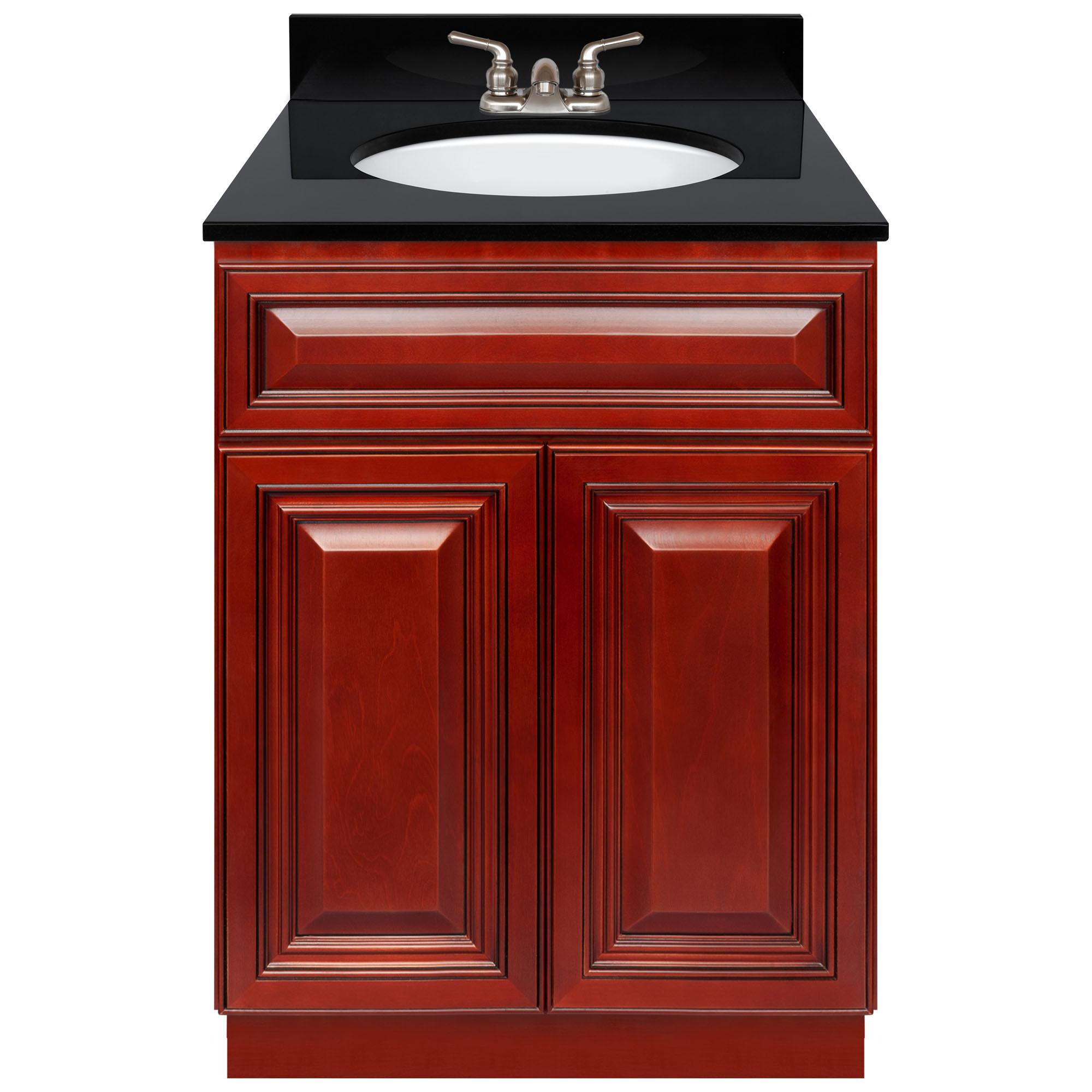 Cherry Bathroom Vanity 24 Absolute Black Granite Top Faucet Lb3b Walmart Com Walmart Com