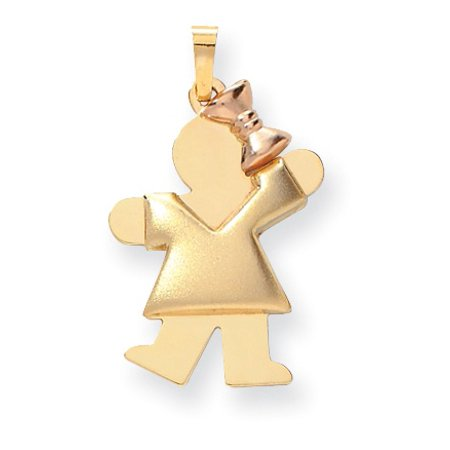 14k Puffed Girl with Bow on Right Engravable Charm