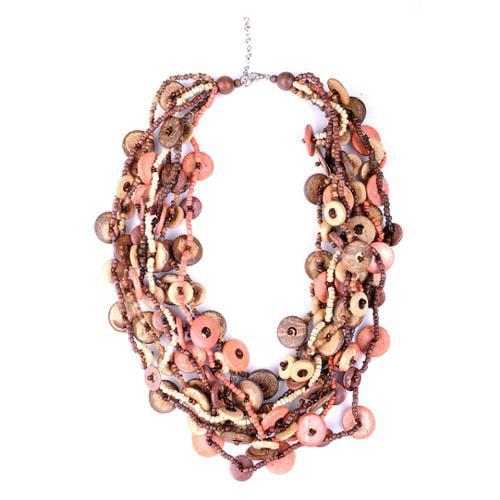 Wink International Thai-handicraft Multi-Strand Coconut Wood and Resin Bead Necklace (Thailand)