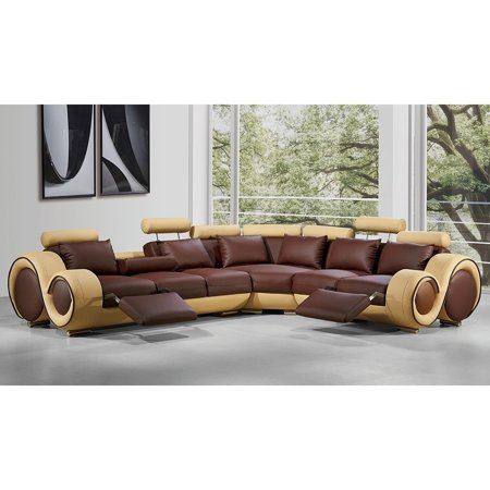 BSD National Supplies Renaissance Brown/Beige Leather L-shaped Sofa with  Rounded Armrests