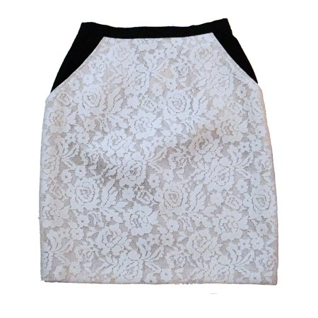 ABS Allen Schwartz Lace Front Mini Skirt with Pockets Ivory Black 2 ()