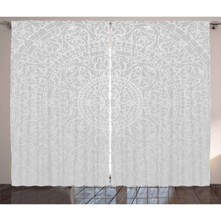 Oriental Curtain - Grey and White Curtains 2 Panels Set, Oriental Ornamental Traditional Arabesque Moroccan Islamic Ethnic Authentic Design, Window Drapes for Living Room Bedroom, 108W X 84L Inches, Grey, by Ambesonne