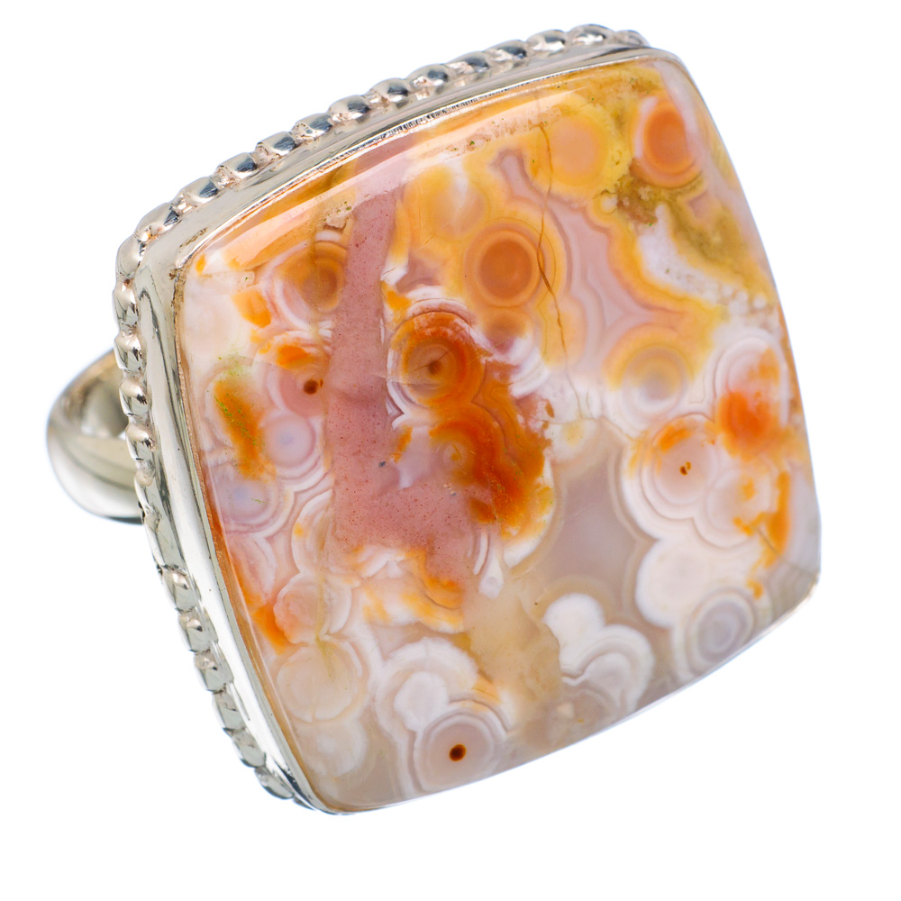 Ana Silver Co Large Rare Ocean Jasper 925 Sterling Silver Ring Size 8.25 - Handmade Jewelry RING852556